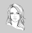 Face of a young woman with long hair vector image