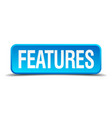features blue 3d realistic square isolated button vector image vector image