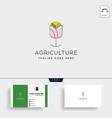 flower agriculture environment simple line logo vector image vector image