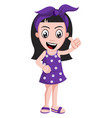 girl with purple ribbon on white background vector image vector image