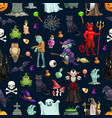 halloween cartoon monsters seamless pattern vector image