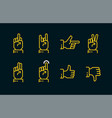 hand gestures thin line icon set in dark colors vector image vector image