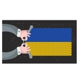 Hand made flag of Ukraine vector image