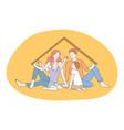 happy family parenthood children concept vector image vector image
