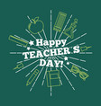 happy teacher day card greeting green background vector image vector image