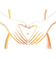 heart symbol on belly white background vector image vector image