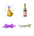 isolated object of party and birthday sign set of vector image