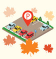 isometric cars in the car parking parking sign vector image