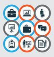 job icons set with business presentation vector image vector image