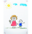 kids doodle drawings of boy and woman together vector image vector image