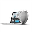 Laptop with metallic shield internet security vector image
