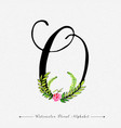 letter o watercolor floral background vector image vector image