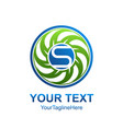 letter s logo design template colored blue green vector image vector image