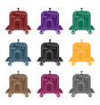 luggage cart icon in black style isolated on white vector image