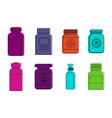 medical bottle icon set color outline style vector image
