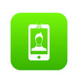 mobile phone with photo icon digital green vector image vector image