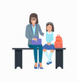 mother and daughter with bag vector image