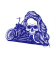 motorcycle woman skull design vector image vector image