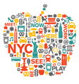 New York City icons and symbols vector image vector image