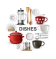 realistic dishes and cutlery round concept vector image