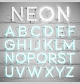 realistic neon alphabet with wires on vector image vector image