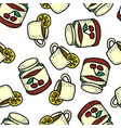 Seamless pattern with tea with lemon and