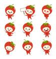 set cute strawberry cartoon characters vector image vector image