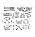 set heart with wings and presents gifts with vector image