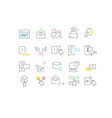 set line icons online advertising vector image