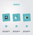 set of laptop icons flat style symbols with hard vector image