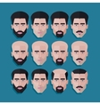 set of male faces in flat polygonal style men hair vector image vector image