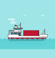 small cargo ship floating on ocean vector image vector image
