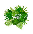 sunny summer tropical palm leaf poster vector image