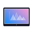 tablet icon with graphic on screen flat vector image vector image
