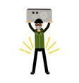 thief character holding a safe in a highly raised vector image vector image