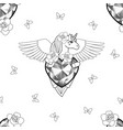 unicorn with heart and wings seamless pattern vector image vector image