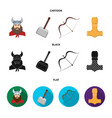viking in helmet with horns mace bow with arrow vector image vector image