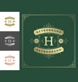 vintage monogram logo elegant flourishes line art vector image