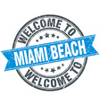 welcome to Miami Beach blue round vintage stamp vector image vector image