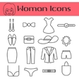 Woman accessories line icon set vector image vector image