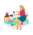 woman gives pill to dog vector image vector image