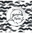 ink hand drawn marine background vector image