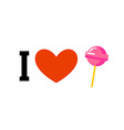 I love lollipop Heart and candy on stick Emblem vector image