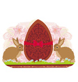 chocolate egg with red bow and two beautiful vector image