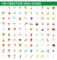 100 creative idea icons set cartoon style vector image vector image