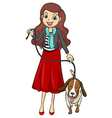 A smiling girl and a dog vector image