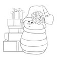 adult coloring bookpage a cute snowman with a set vector image