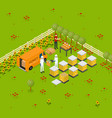 beekeeping apiary farm concept isometric view vector image