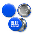 blue badge mockup pin brooch blue button vector image vector image