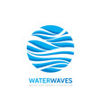 blue water waves - business logo template vector image